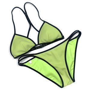Victorias Secret Yellow Black Trim Triangle Bikini